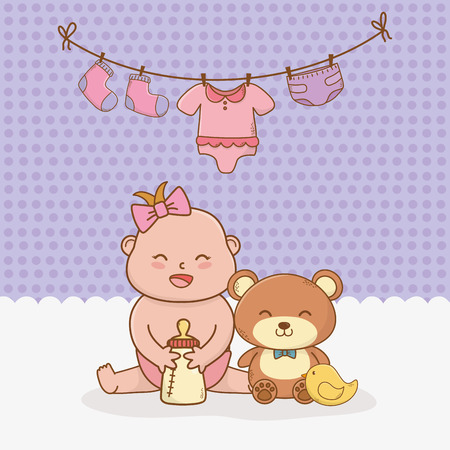 baby shower card with little girl baby vector illustration design