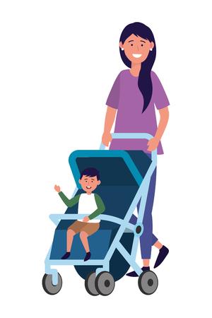 madre con carro de bebe Ilustración de vector