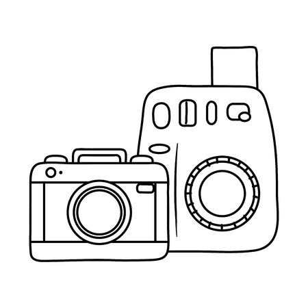 photographic cameras icon black and white Illustration