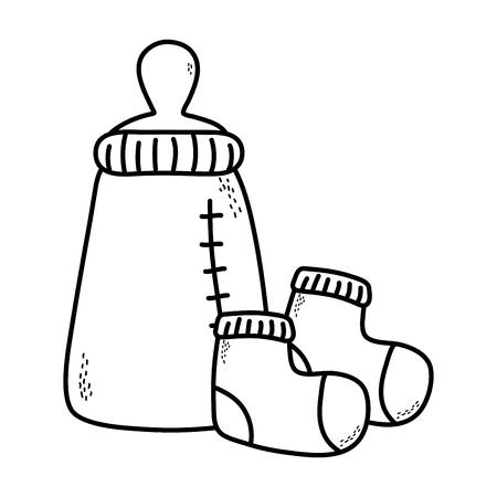 cute baby shower elements cartoon vector illustration graphic design