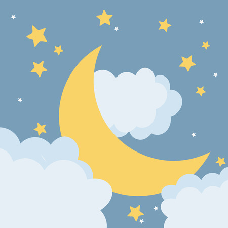 moon at night cartoon vector illustration graphic design Vectores