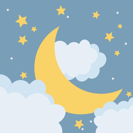 moon at night cartoon vector illustration graphic design Illustration