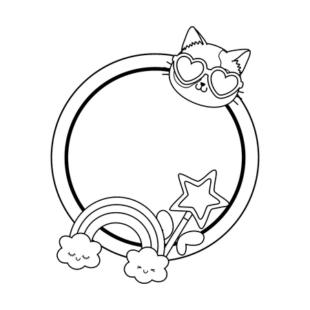 magic wand with cloud and rainbow round frame icon cartoon black and white vector illustration graphic design Vettoriali