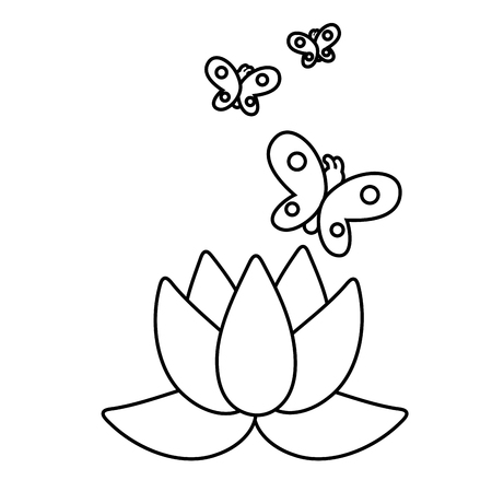blossom and buttlerfly icon cartoon black and white vector illustration graphic design