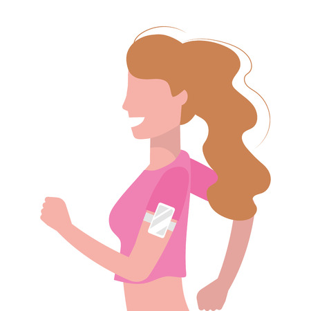 woman running portrait with sportwear avatar cartoon character vector illustration graphic design