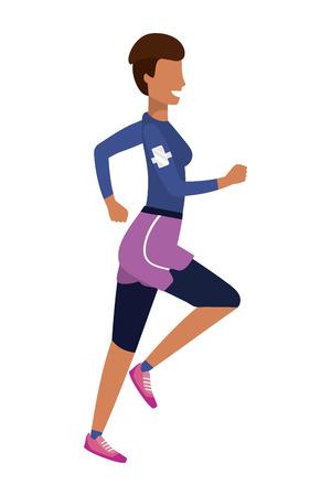 woman running with sportswear avatar cartoon character vector illustration graphic design Vetores