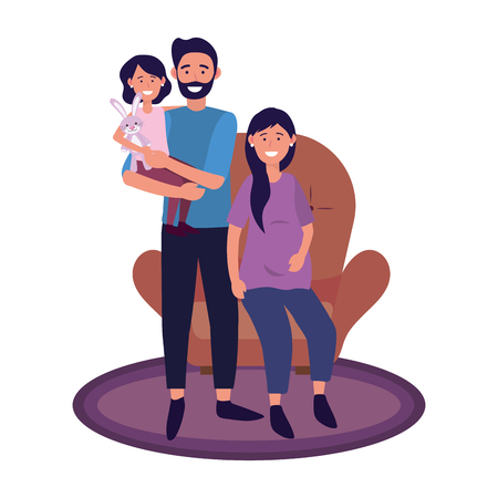 couple with child avatar cartoon character sitting vector illustration graphic design