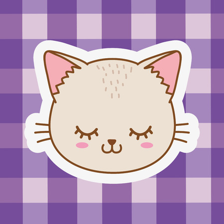 cute happy funny cat face cartoon vector illustration graphic design Ilustração