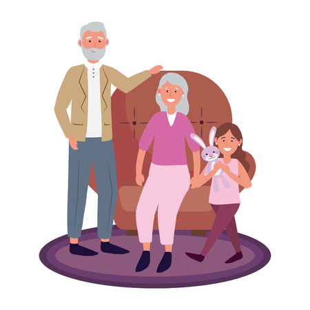 elderly couple with child sitting avatar cartoon character with bunny vector illustration graphic design