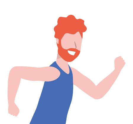 fitness sport train man running cartoon vector illustration graphic design