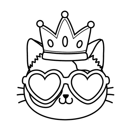 cat with heart sunglasses and crown icon cartoon black and white vector illustration graphic design