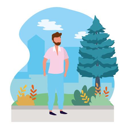 young man outdoor scene cartoon vector illustration graphic design Фото со стока - 120831410