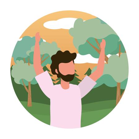 young man raised hands outdoor scene cartoon vector illustration graphic design