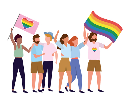 homosexual proud gay people with lgtbi flag concept cartoon vector illustration graphic design
