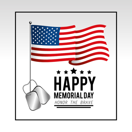 usa flag with stars and necklace to memoral day vector illustration