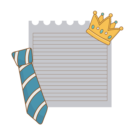 paper sheet with crown and tie icon cartoon vector illustration graphic design