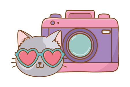 cat and photographic camera icon cartoon vector illustration graphic design