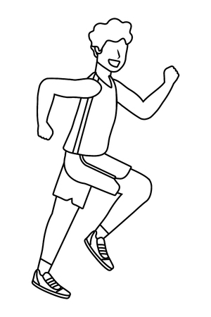 fitness sport train man running cartoon vector illustration graphic design Vetores