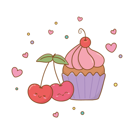 muffin and cherries icon cartoon vector illustration graphic design