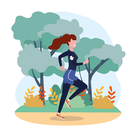 woman practice running exercise in the lanscape vector illustration