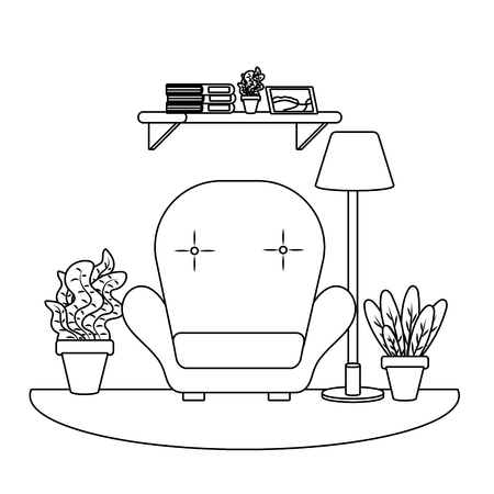 studying room icon cartoon chair bookshelf lamp plant pot black and white vector illustration graphic design