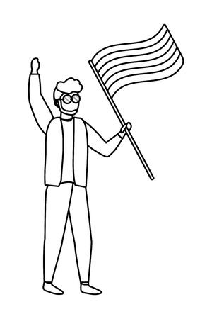 homosexual proud gay man at protest holding lgtbi flag cartoon vector illustration graphic design Illustration