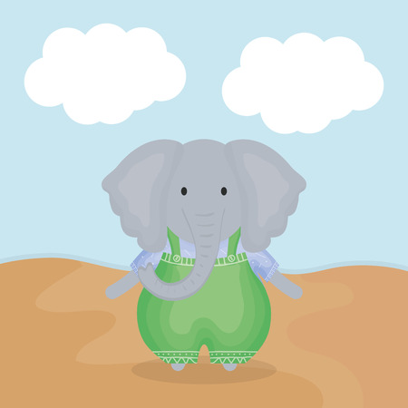 cute elephant with clothes character vector illustration design 向量圖像