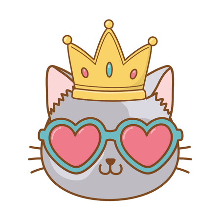 cat with heart sunglasses and crown