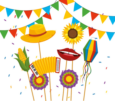 party banner with hat and flowers to festa junina vector illustration