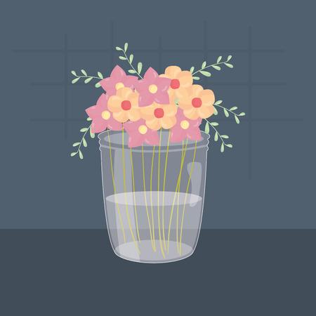 mason jar glass with floral decoration vector illustration design Ilustração