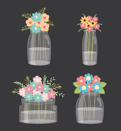 set of mason jars with floral decoration vector illustration design