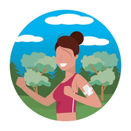 woman running portrait with sportwear avatar cartoon character rural landscape round icon vector illustration graphic design Illustration