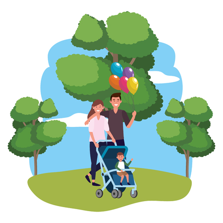 couple with baby carriage avatar cartoon character with child and balloons park landscape vector illustration graphic design