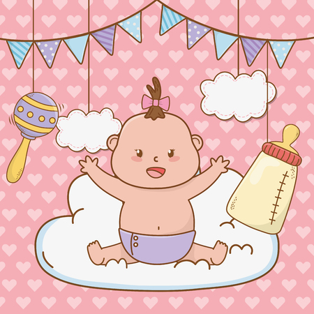 Cute baby shower pequeño bebé con elementos de diseño gráfico de ilustración de vector de dibujos animados Ilustración de vector