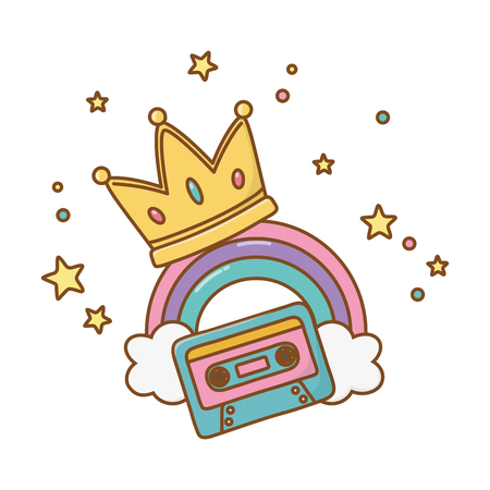 cassette with crown and rainbow icon cartoon vector illustration graphic design