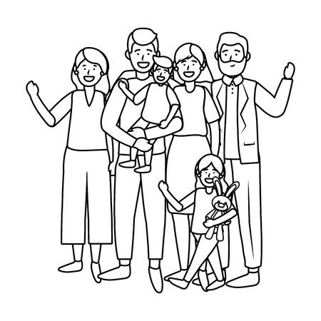 family avatar cartoon character vector illustration graphic design Illustration