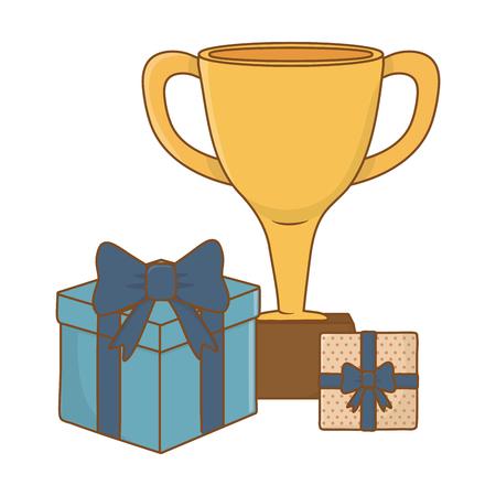 Trophée avec des coffrets cadeaux icône cartoon vector illustration graphic design Vecteurs