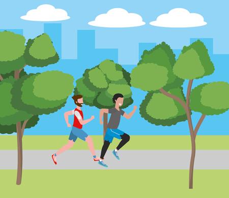 fitness sport train men running at outdoor scene cartoon vector illustration graphic design 向量圖像