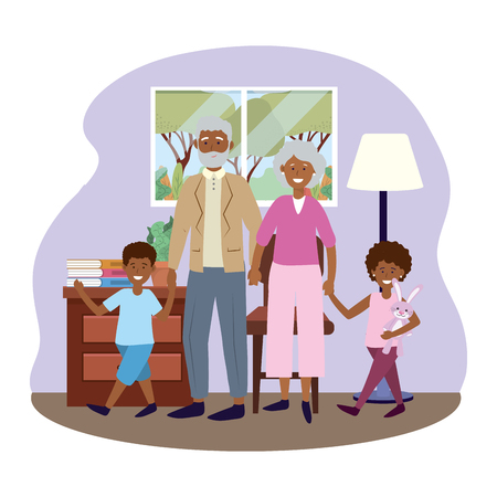 elderly couple with children avatar cartoon character with bunny in the living room vector illustration graphic design