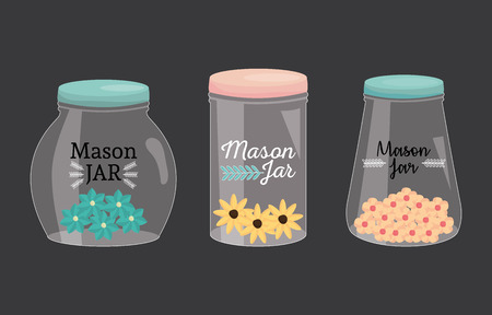 set of mason jars with lid and flowers vector illustration design