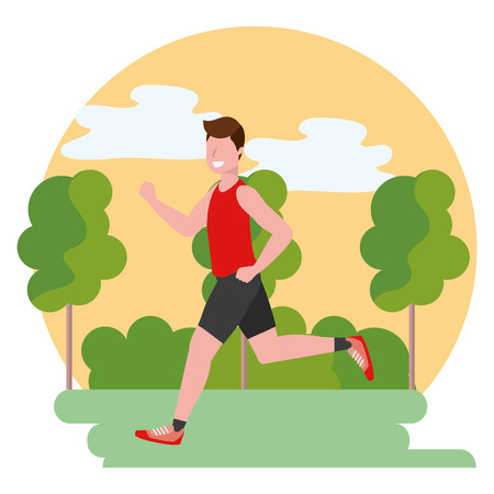 fitness sport train man outdoor scene cartoon vector illustration graphic design