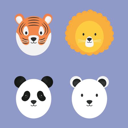 group of cute animals characters vector illustration design