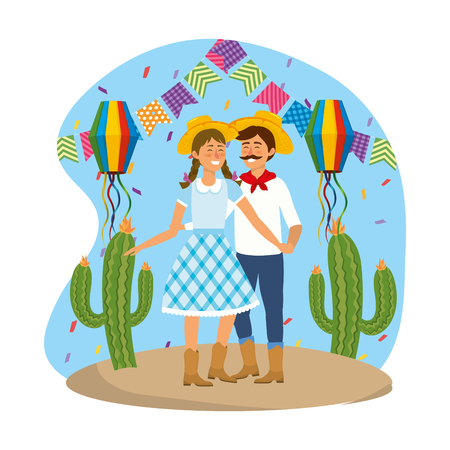 woman and man with party banner and lanterns vector illustration Иллюстрация