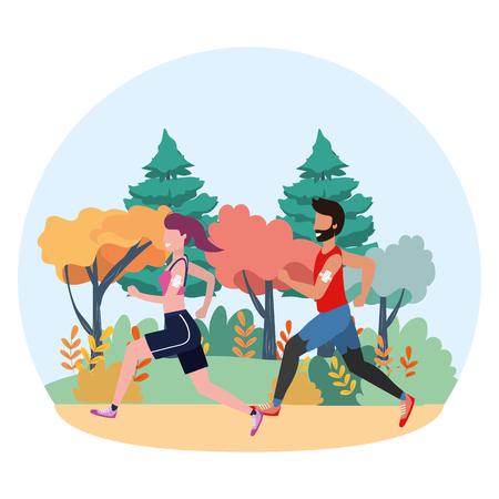 dessin animé de train de sport de remise en forme