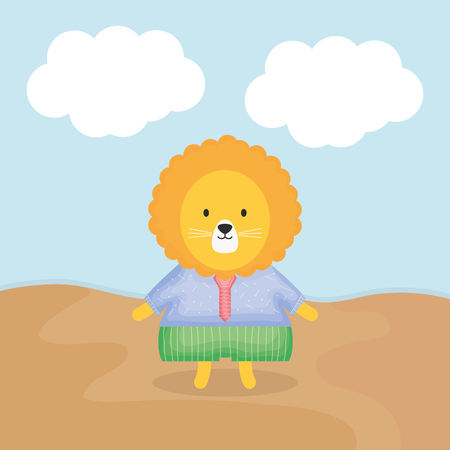 cute lion with clothes character vector illustration design Vectores