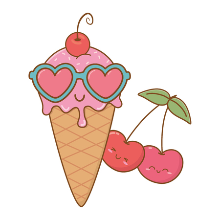 ice cream cherries and sunglasses icon cartoon vector illustration graphic design Vettoriali