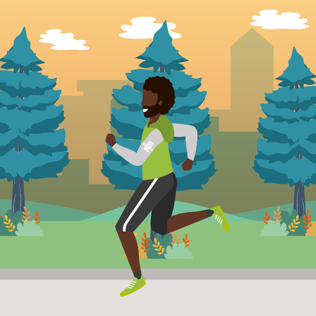 fitness sport train man running outdoor scene cartoon vector illustration graphic design