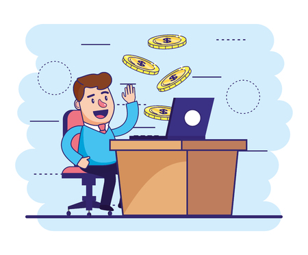 man seating with laptop in the desk and coins vector illustration