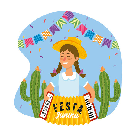woman with accordion and party banner decoration vector illustration Иллюстрация