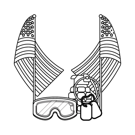 united state flag with grenade black and white